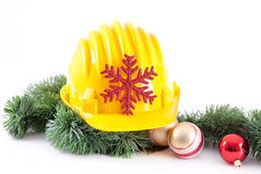 Construction helmet and christmas Stock Images