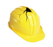 Construction helmet crack. On a white background Stock Image