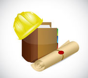 Construction helmet and education graduation Stock Image