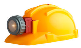 Construction helmet with a flashlight Royalty Free Stock Photography
