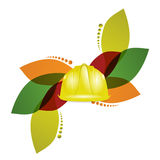 Construction helmet and floral design Stock Photo