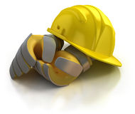 Construction helmet and gloves. Isolated on white background Stock Photo