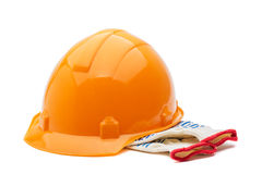 Construction helmet and gloves stock images