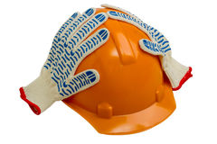 Construction helmet and gloves. isolated Stock Images