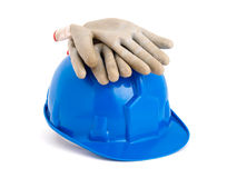Construction helmet and gloves isolated on white Royalty Free Stock Photography