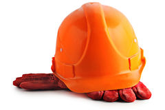 Construction helmet and gloves Stock Photo