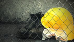 Construction helmet and industry safety equipment. stock video footage