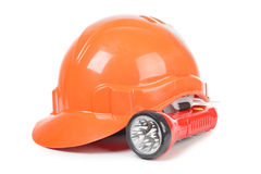 Construction helmet and lantern Royalty Free Stock Images