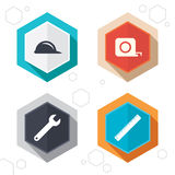 Construction helmet and ruler, roulette icons Stock Photography