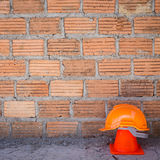 Construction helmet safety and cone in construction site Stock Images