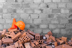 Construction helmet safety and cone Royalty Free Stock Photo