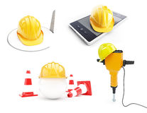 Construction helmet set. On a white background 3D illustration Stock Image