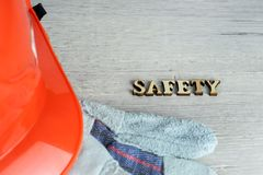 Construction helmet is a symbol of safety in the workplace. Set of tools. Safety concept Selective focus. DIY.  stock images