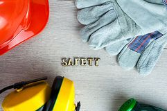 Construction helmet is a symbol of safety in the workplace. Set of tools. Safety concept Selective focus. DIY.  royalty free stock image