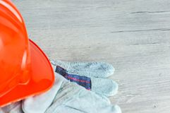 Construction helmet is a symbol of safety in the workplace. Set of tools. Safety concept Selective focus. DIY.  royalty free stock photography
