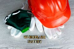 Construction helmet is a symbol of safety in the workplace. Set of tools. Safety concept Selective focus. DIY.  stock photography