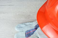 Construction helmet is a symbol of safety in the workplace. Set of tools. Safety concept Selective focus. DIY.  stock image
