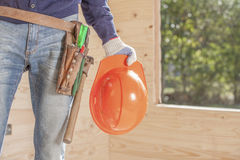 Construction helmet and tool belt Royalty Free Stock Photos