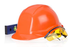 Construction helmet tool on white Stock Photography