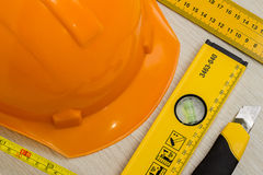 Construction helmet and tools as background Stock Image
