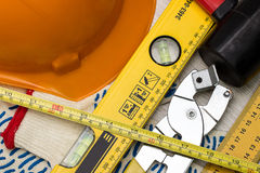Construction helmet and tools Royalty Free Stock Photos