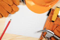Construction helmet and tools. background Stock Images