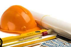 Construction helmet and tools. Stock Image