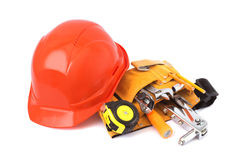 Construction helmet and tools Royalty Free Stock Image