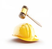 Construction helmet, wood gavel, law. On a white background Royalty Free Stock Photo