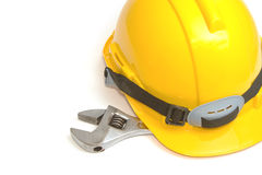 Construction Helmet with wrench Royalty Free Stock Photography
