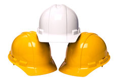 Construction Helmets Isolated Stock Images