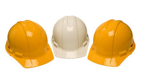 Construction Helmets On White Royalty Free Stock Photography
