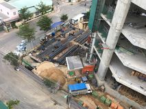 Construction of high rise building - builders at work. View of construction of high rise building - builders at work royalty free stock image