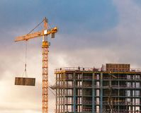 Construction of a high-rise building with a crane Royalty Free Stock Photography