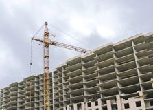 Construction of a high-rise building with a crane stock image