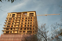 Construction of the high-rise building in Moscow Stock Images