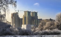 Construction of high-rise building tower crane Stock Photography