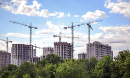Construction of high-rise buildings royalty free stock photos