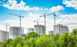 Construction of high-rise buildings stock photo