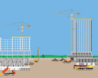 Construction of high-rise buildings royalty free illustration