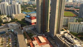 Construction of high rise residential apartments near completion stock footage