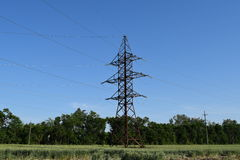 Construction of a high-voltage power line. Royalty Free Stock Photography