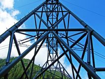 Construction of High Voltage Power Transmission Line. Switzerland stock photography