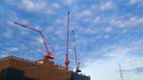 Construction hight building in Bangkok Thailand at bright slue s Stock Photo