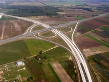Construction of a highway. Construction of a new freeway Stock Photo