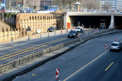 Construction of highway. Great building site on a motorway underpass Stock Photos