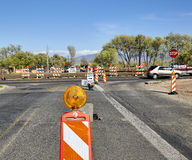 Construction highway roadwork traffic control signs and detour m Stock Image
