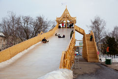 Construction-hill for skiing on ice. editorial Royalty Free Stock Photography