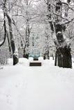Construction historique en stationnement de l'hiver Photo stock