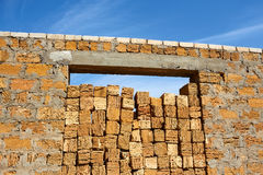 Construction with hollow limestone Stock Photography